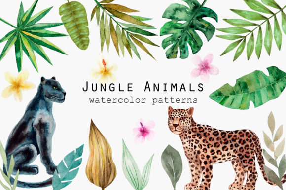 Jungle Animals. Watercolor Patterns Graphic Objects By Slastick