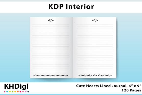 Print on Demand: KDP Interior - Hearts Lined Notebook 6x9 Graphic KDP Interiors By KHDigi