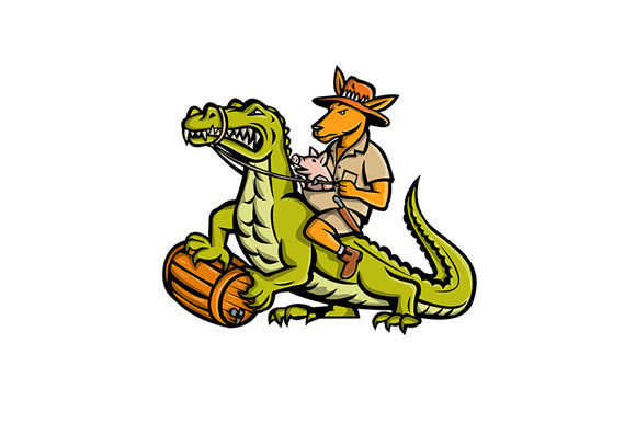 Download Free Kangaroo Riding Crocodile Mascot Graphic By Patrimonio for Cricut Explore, Silhouette and other cutting machines.