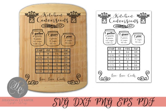 Download Free Kitchen Conversion Chart Graphic By Shannon Casper Creative for Cricut Explore, Silhouette and other cutting machines.