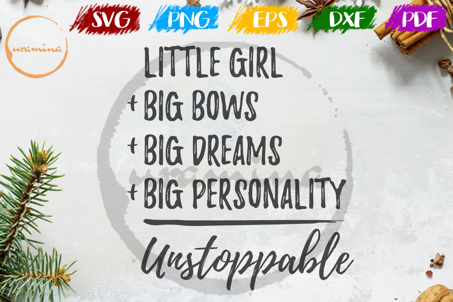 Download Free Little Girl Big Bows Big Dreams Graphic By Uramina Creative for Cricut Explore, Silhouette and other cutting machines.