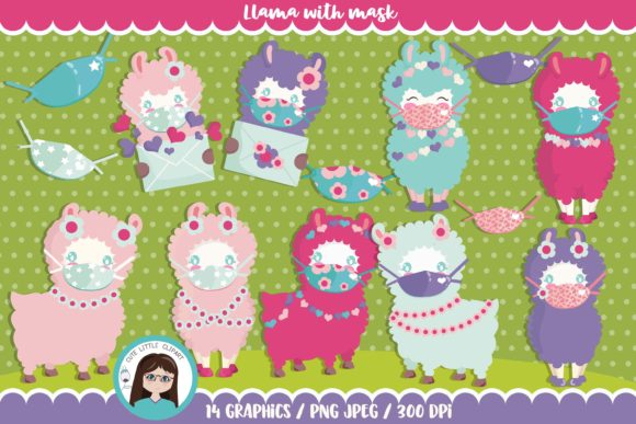 Download Free Llama With Mask Graphic By Cutelittleclipart Creative Fabrica for Cricut Explore, Silhouette and other cutting machines.