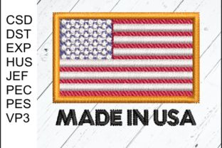 Made in USA Flag Work & Occupation Embroidery Design By Embroidery Zone Designs