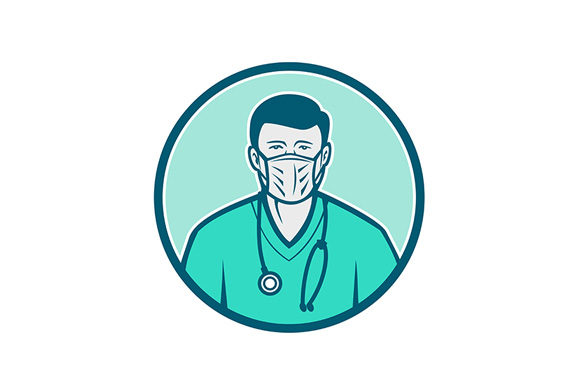 Download Free Male Nurse Wearing Surgical Mask Icon Graphic By Patrimonio for Cricut Explore, Silhouette and other cutting machines.