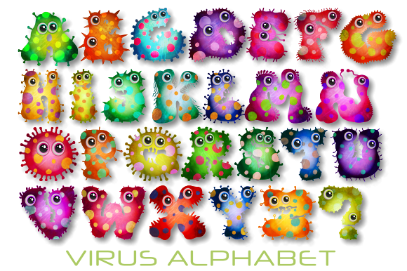 Print on Demand: Microscopic Virus Alphabet Graphic Illustrations By Prawny