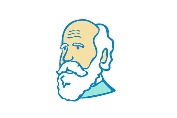 Download Free Nerdy Charles Darwin Doodle Mascot Graphic By Patrimonio for Cricut Explore, Silhouette and other cutting machines.