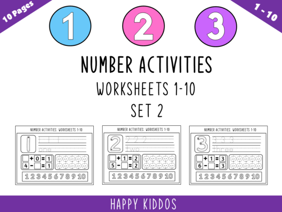 Number Activities: Worksheets 1-10 Set 2 Graphic K By Happy Kiddos