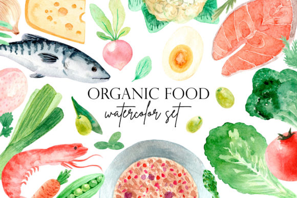Organic Food. Watercolor Clipart Set Graphic Objects By Slastick