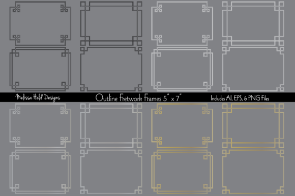 Outline Fretwork Frames Graphic Patterns By Melissa Held Designs