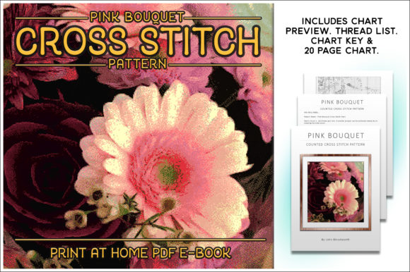 Download Free Pink Bouquet Cross Stitch Pattern Graphic By Gentlemancrafter for Cricut Explore, Silhouette and other cutting machines.