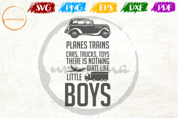 Download Free Planes Trains Cars Trucks Toys There Graphic By Uramina for Cricut Explore, Silhouette and other cutting machines.