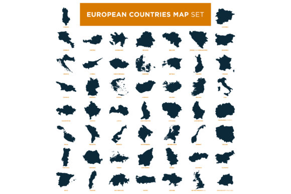 Set of Europe Countries Map Graphic Objects By soponyono