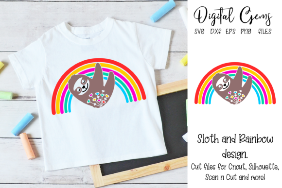 Sloth and Rainbow Design Graphic Crafts By Digital Gems - Image 1