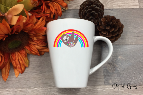 Sloth and Rainbow Design Graphic Crafts By Digital Gems - Image 2