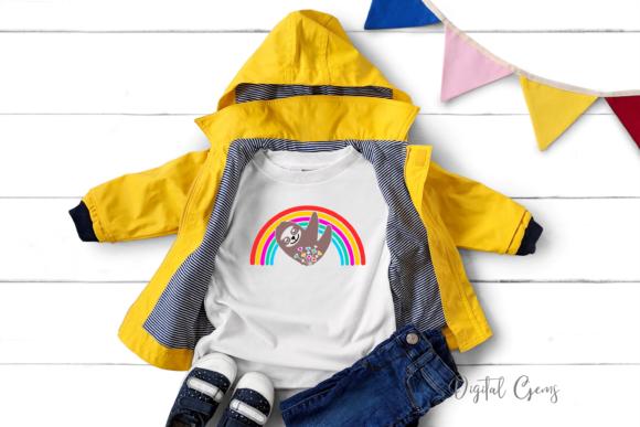 Sloth and Rainbow Design Graphic Crafts By Digital Gems - Image 6