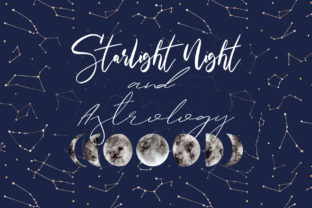 Starlight Night and Astrology Cliparts Graphic Objects By Slastick