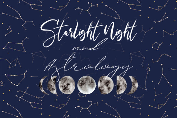 Starlight Night and Astrology Cliparts Grafik Objekte von Slastick