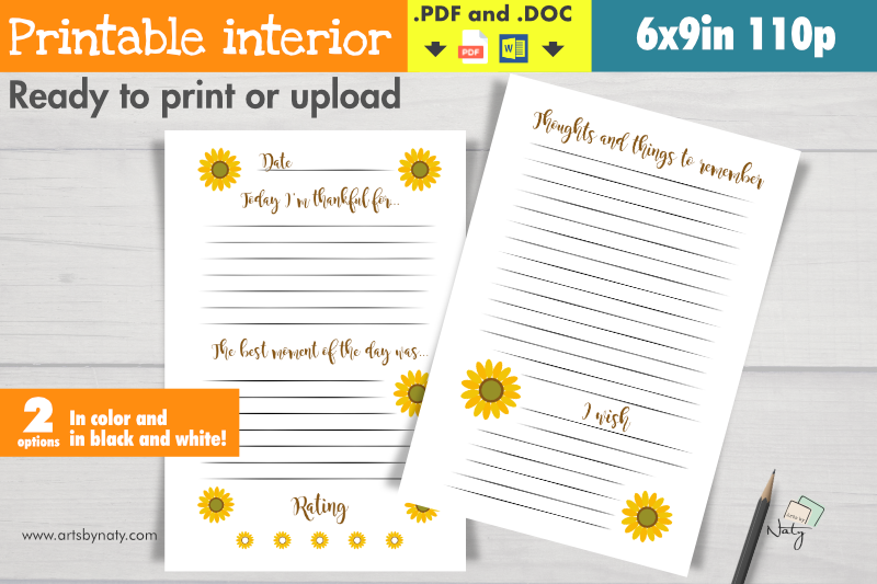 Download Free Sunflower Gratitude Journal Printable Graphic By Artsbynaty for Cricut Explore, Silhouette and other cutting machines.