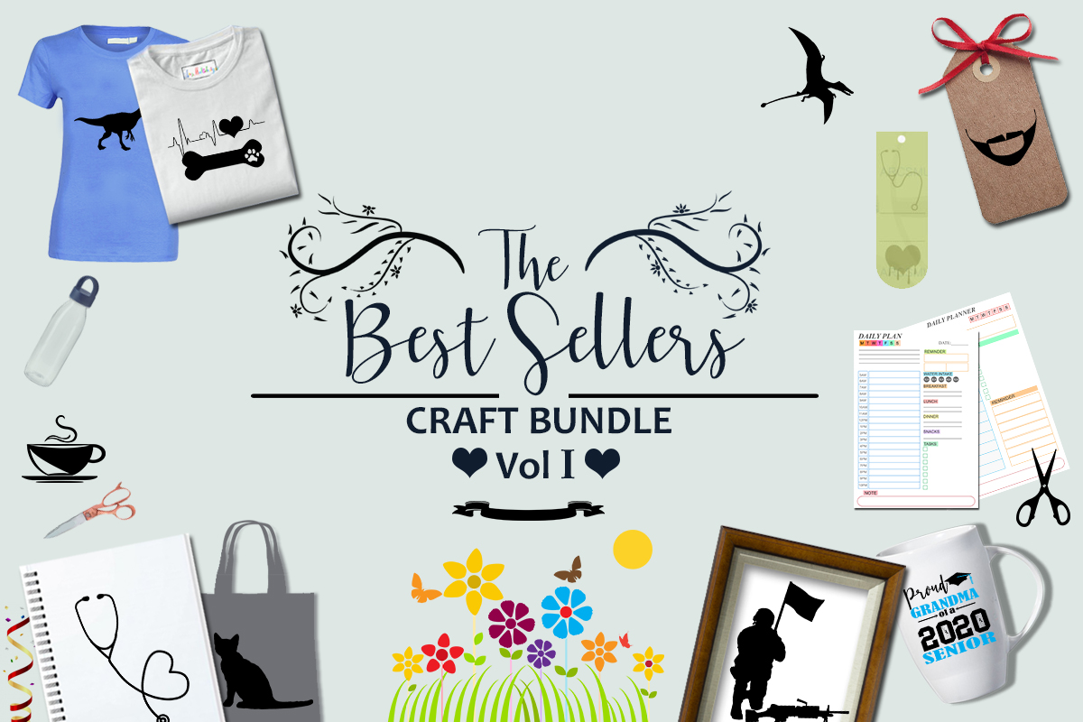 Download Free The Best Sellers Craft Bundle Vol 1 Bundle Creative Fabrica for Cricut Explore, Silhouette and other cutting machines.