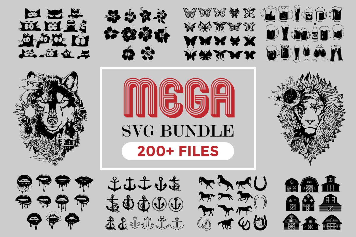 Download Free The Mega Svg Bundle Bundle Creative Fabrica for Cricut Explore, Silhouette and other cutting machines.