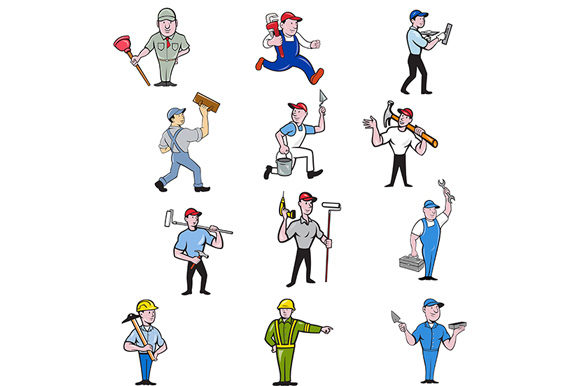 Download Free Tradesman Industrial Worker Cartoon Set Graphic By Patrimonio for Cricut Explore, Silhouette and other cutting machines.