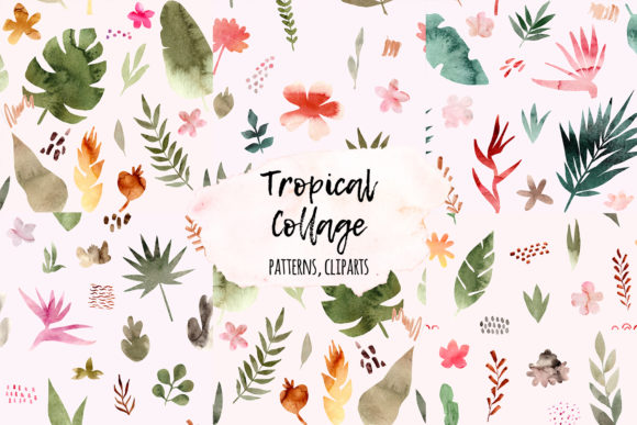 Tropical Collage. Patterns and Cliparts Graphic Objects By Slastick