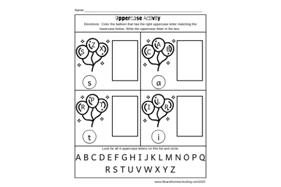 Download Free Uppercase Activity Worksheets Graphic By Lifeandhomeschooling for Cricut Explore, Silhouette and other cutting machines.