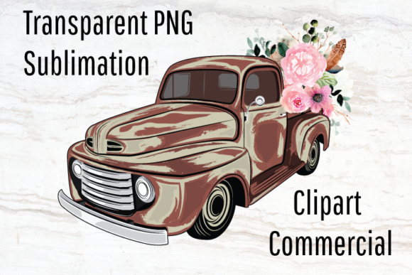 Print on Demand: Vintage Truck Sublimation Design Graphic Print Templates By Blueberry Jam Design