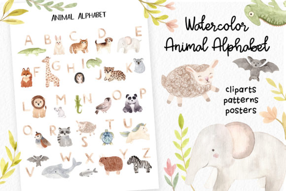 Watercolor Animal Alphabet. Cliparts Graphic Objects By Slastick