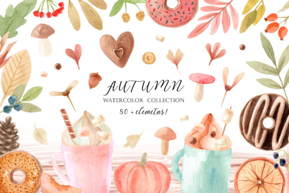 Watercolor Autumn Clipart Collection Graphic Objects By Slastick