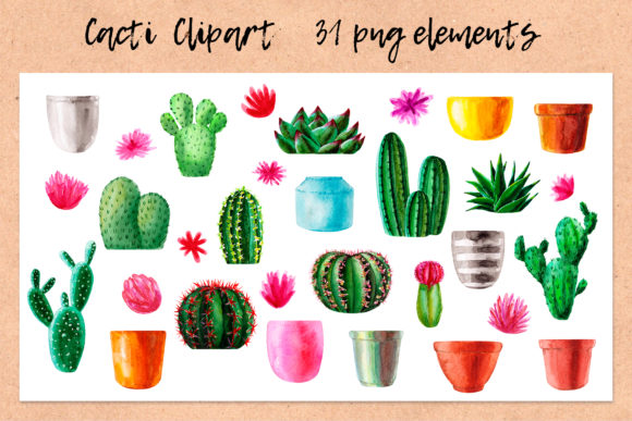 Download Free Watercolor Cactus Cacti Patterns Graphic By Slastick Creative for Cricut Explore, Silhouette and other cutting machines.