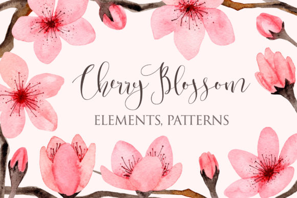 Watercolor Cherry Blossom. Patterns Graphic Patterns By Slastick