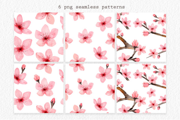 Download Free Watercolor Cherry Blossom Patterns Graphic By Slastick for Cricut Explore, Silhouette and other cutting machines.