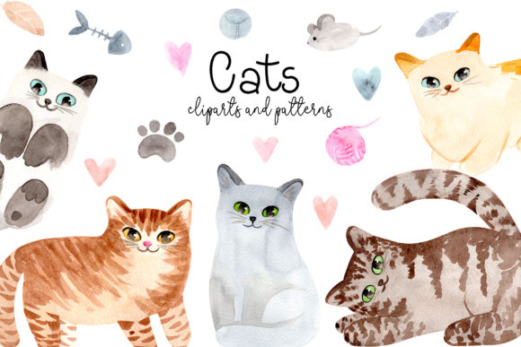 Watercolor Cute Cats. Patterns, Cliparts Graphic Objects By Slastick