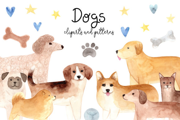 Watercolor Cute Dogs. Patterns, Cliparts Graphic Objects By Slastick
