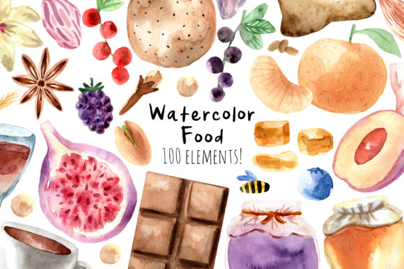 Watercolor Food. 100 Cliparts Graphic Objects By Slastick