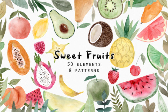 Watercolor Fruits. Patterns, Cliparts Graphic Objects By Slastick