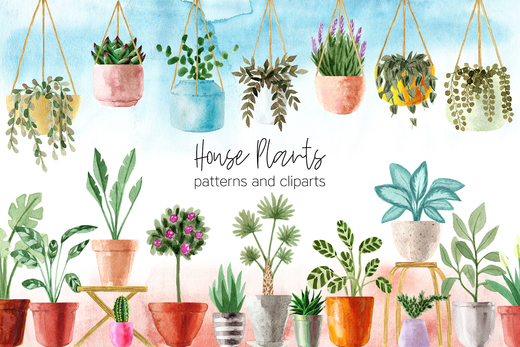 Download Free Watercolor House Plants Cliparts Graphic By Slastick Creative for Cricut Explore, Silhouette and other cutting machines.