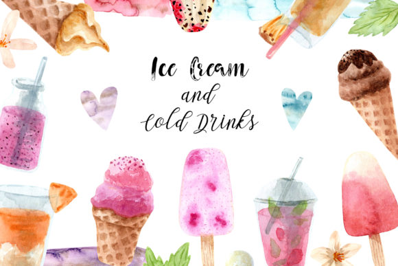 Watercolor Ice Cream and Cold Drinks Graphic Objects By Slastick