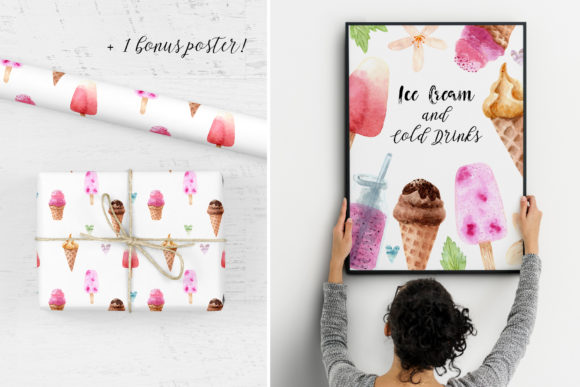 Download Free Watercolor Ice Cream And Cold Drinks Graphic By Slastick for Cricut Explore, Silhouette and other cutting machines.