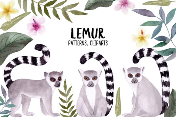 Watercolor Lemur. Patterns and Cliparts Graphic Objects By Slastick