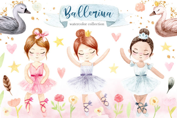 Watercolor Little Ballerina. Cliparts Graphic Objects By Slastick