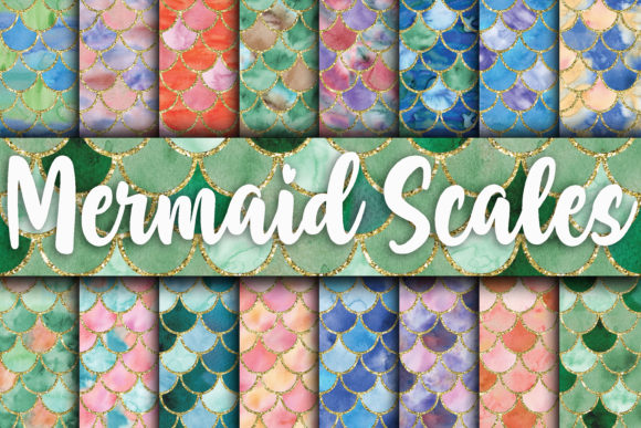 Print on Demand: Watercolor Mermaid Scales Digital Paper Graphic Backgrounds By oldmarketdesigns