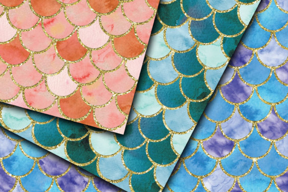 Download Free Watercolor Mermaid Scales Digital Paper Graphic By for Cricut Explore, Silhouette and other cutting machines.