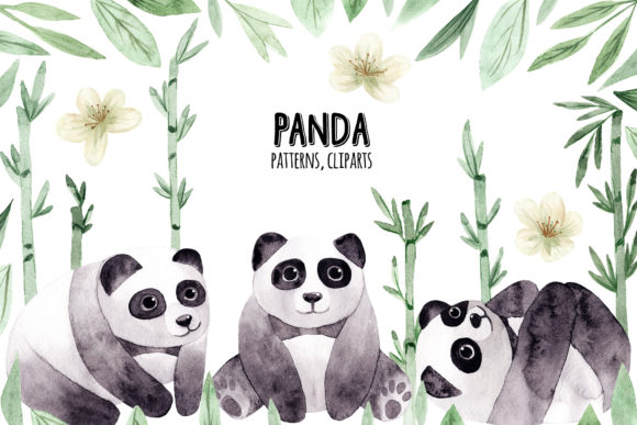 Watercolor Panda. Patterns and Cliparts Graphic Objects By Slastick