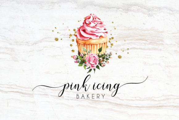 Print on Demand: Watercolor Pink Cupcake Logo Design Graphic Logos By Blueberry Jam Design