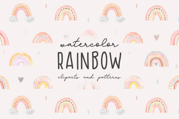Watercolor Rainbow. Cliparts and Pattern Graphic Objects By Slastick