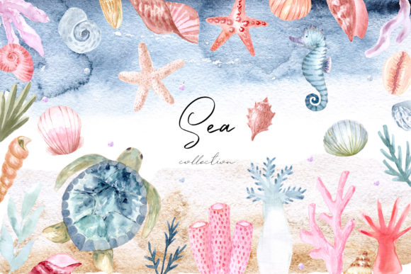 Watercolor Sea Collection. Cliparts Grafik Objekte von Slastick