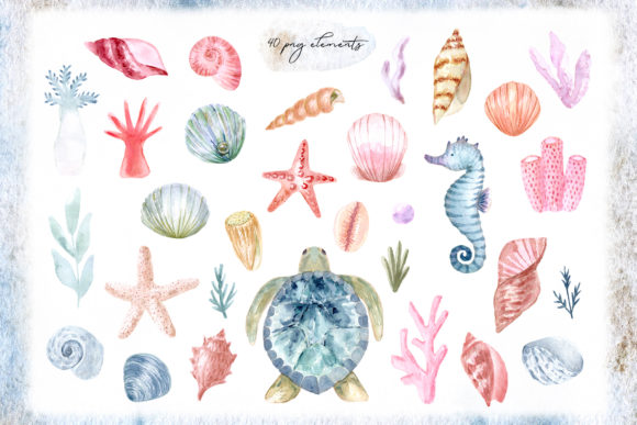 Watercolor Sea Collection. Cliparts Graphic Objects By Slastick - Image 2