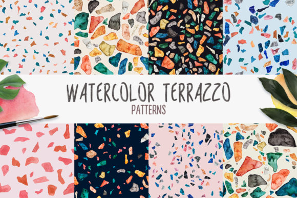 Download Free Watercolor Terrazzo Patterns Graphic By Slastick Creative Fabrica for Cricut Explore, Silhouette and other cutting machines.